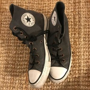Faux leather high top converse